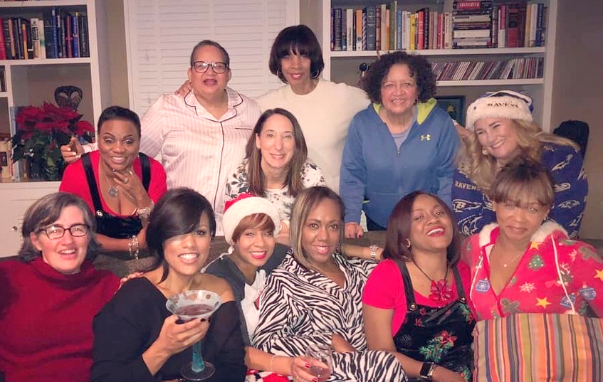 Mayor Pugh, upper center, at Maria Tilden's Christmas slumber party in December. Ex-mayor Stephanie Rawlings-Blake is clutching a cocktail. To her left is lobbyist and Pugh campaign contributor Lisa Harris Jones. To Pugh's right is Diane Bell McKoy, president and CEO of Associated Black Charities.