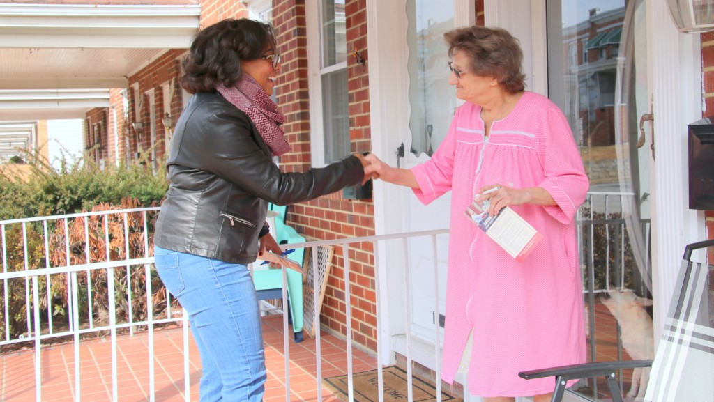 Phylicia Porter, a candidate for 42 district central committee, canvassing in Morrell park. (Fern Shen)