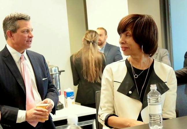 Steve Silverman pictured with Pugh last month. His law firm were generous mayoral givers. (Silverman, Thompson, Slutkin & White Facebook page)