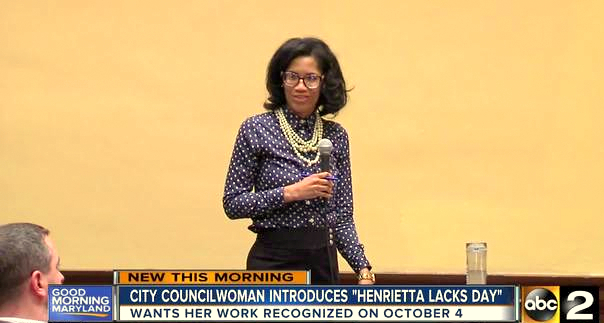 Councilman Costello listens as Shannon Sneed introduces a bill calling for a day of recognition for HeLa cell originator Henrietta Lacks. Lacks wasn't from Sneed's Eastside district – nor were many of her 2017 donors. (abc2news)
