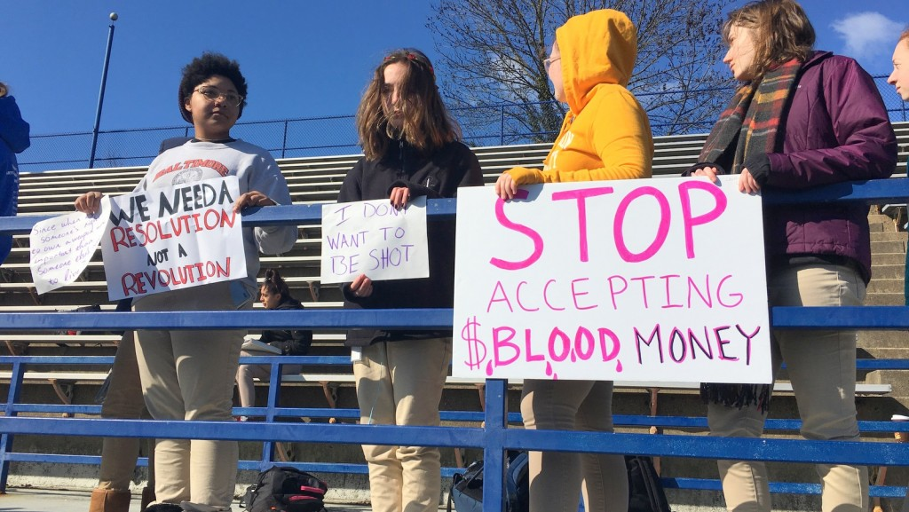 After the mass shooting at a school in Parkland, Fla., a protest at Baltimore Polytechnic Institute. (Fern Shen)