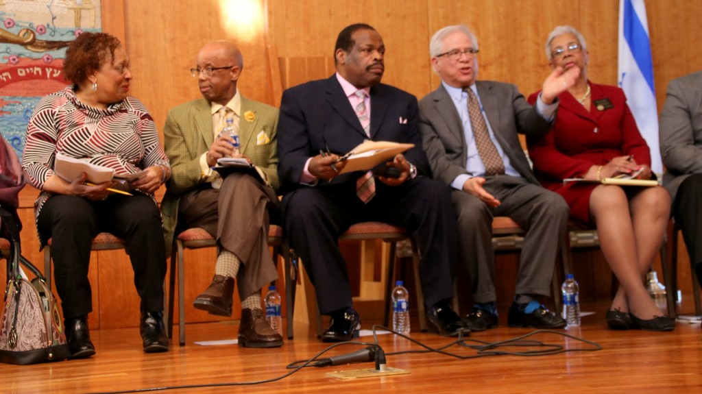 (From left) Tessa Hill-Aston, Walter Horton, George Mitchell and Joyce Smith at candidates' forum. (Fern Shen)