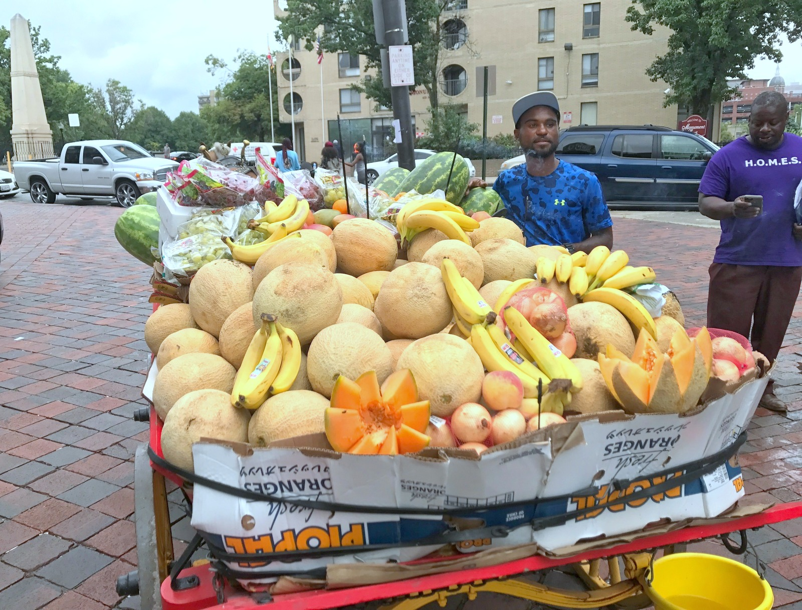 Cantaloupes, bananas, watermelons and peaches are colorfully displayed on the wagon. (Mark Reutter)