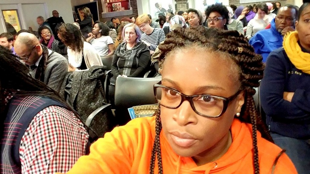 Khalilah Harris tweeted this photo from the January school board meeting where she and others addressed the unheated classroom crisis in Baltimore. (@Ed2BeFree)