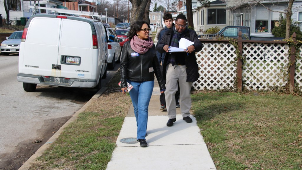 Central Committee candidate Phylicia Porter canvassing in Morrell Park in Baltimore's 40th District. (Fern Shen)