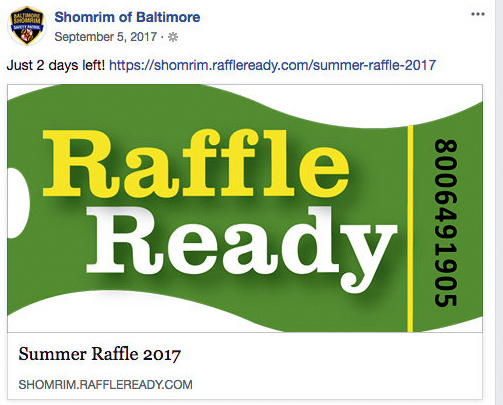Schleifer's connections to Shomrim include the group's use of his on-line company, Raffle Ready, to conduct fundraising drives. (Shomrim of Baltimore Facebook)