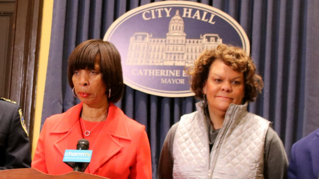 Sharon Middleton with Mayor Pugh at the press conference announcing Darryl De Sousa as Baltimore's new police commissioner. (Fern Shen)