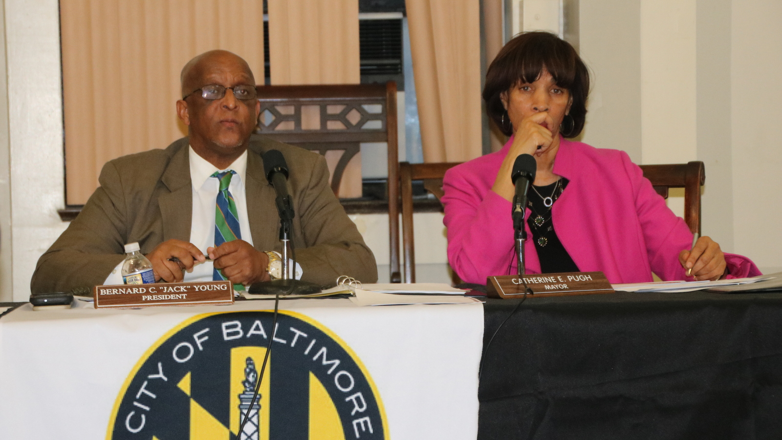 City Council President Jack Young and Mayor Catherine Pugh listen to Taxpayers Night testimony. (Fern Shen)