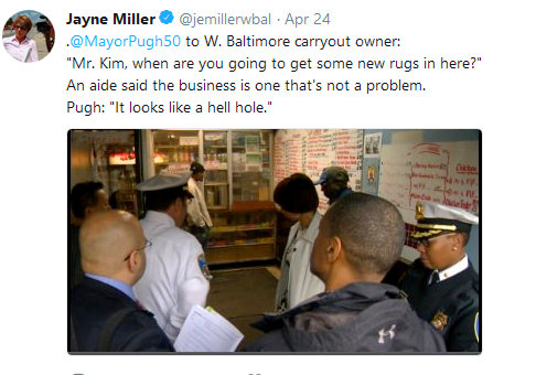 On Tuesday, Mayor Catherine Pugh delivered harsh judgments on small carryout stores in West Baltimore. (Twitter)