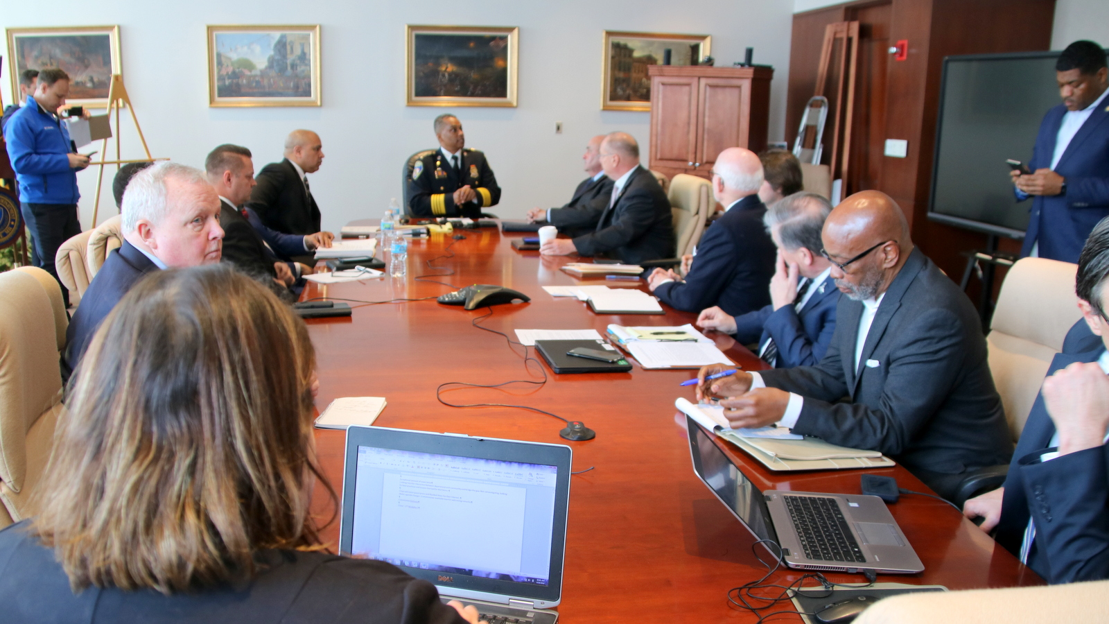 Commissioner Darryl De Sousa addresses the Independent Review Board, at its first meeting at Baltimore Police headquarters. (Fern Shen)