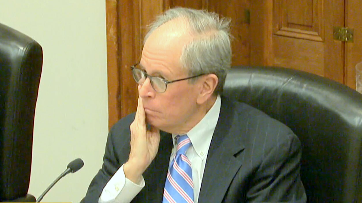 Liquor Board chairman Albert J. Matricciani Jr. listens to testimony of a protest of the renewal of the license for the Waverly Tavern. (Charm TV)