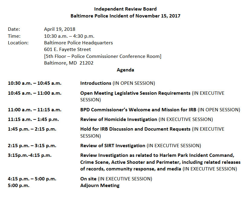 Agenda for April 19 Investigative Review Board meeting at Baltimore Police headquarters. (ACLU of Maryland)