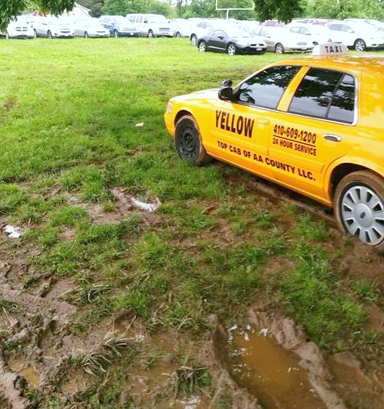 Some of the worst damage to the field was cause by a taxi stuck in the mud last year. (Baltimore Terps)