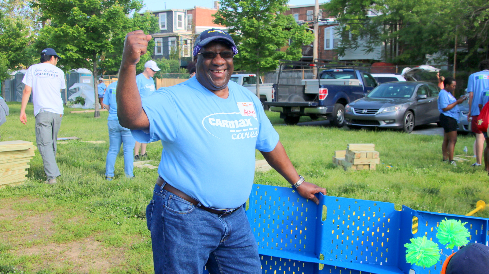 CarMax employee Albert Anderson participates in his fifth KaBOOM! playground rebuild. (Fern Shen)