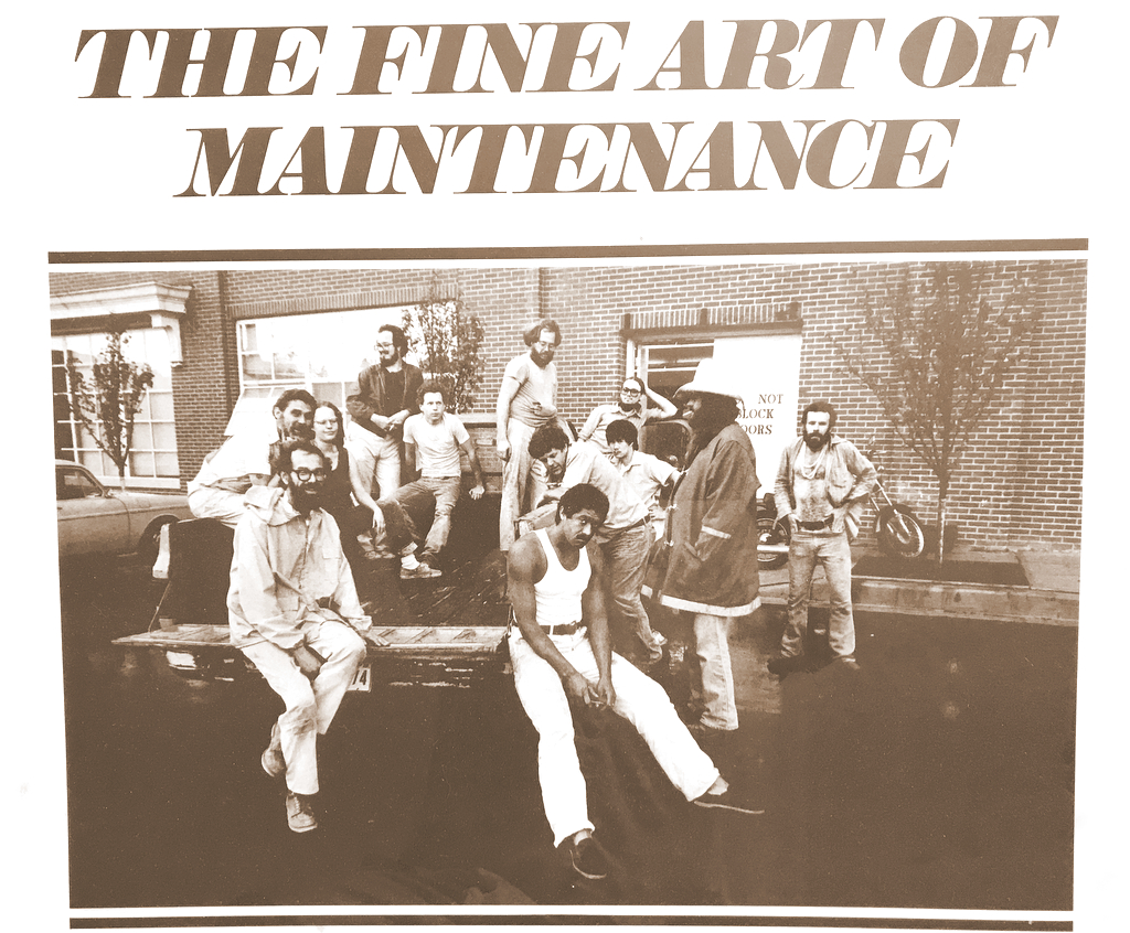 Dilts is at lower left of the poster announcing the July 1981 art show of the maintenance crew at the Maryland Institute. Also in the picture: sculpture Kevin Donnelly, artist Monica Broere, painters Thomas Jenkins and Suthat Pinruethai, Roy Sprengelmeyer, Robert Alholm and sculpture John Ferguson. (Mark Reutter)