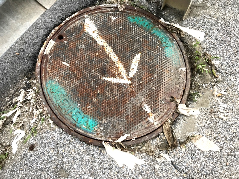 sewer manhole on falls rd