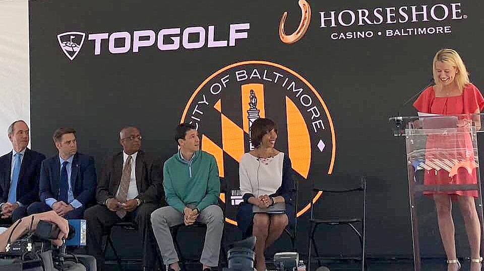 City officials at the announcement of a Topgolf facility being opened at the Horseshoe Casino. City Council President Jack Young (third from left) and Mayor Catherine Pugh (seated).