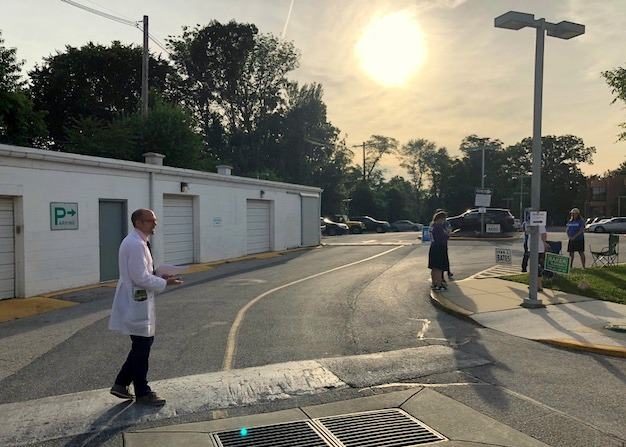 Dr. Richard Bruno, a candidate for the House of Delegates in the 41st District, starts his day at a north Baltimore polling place.. (Fern Shen)