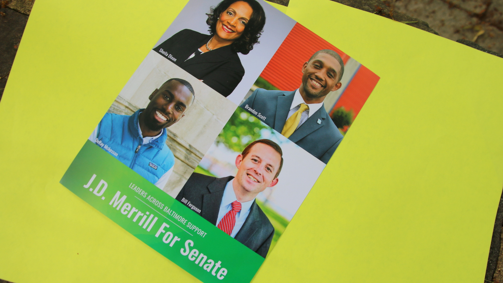A Merrill mailer stressing endorsements from Brandon Scott, Sheila Dixon, Deray McKesson and Bill Ferguson.