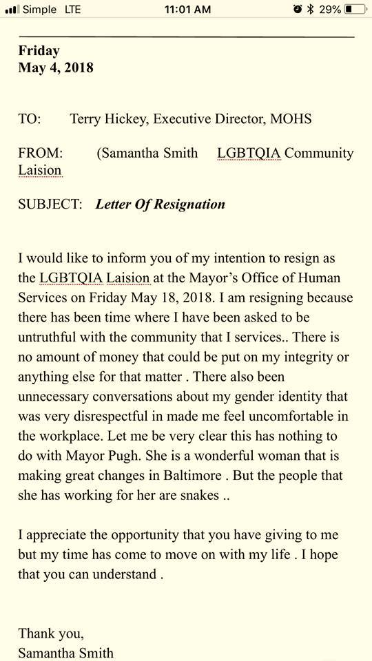 samantha smith letter of resignation