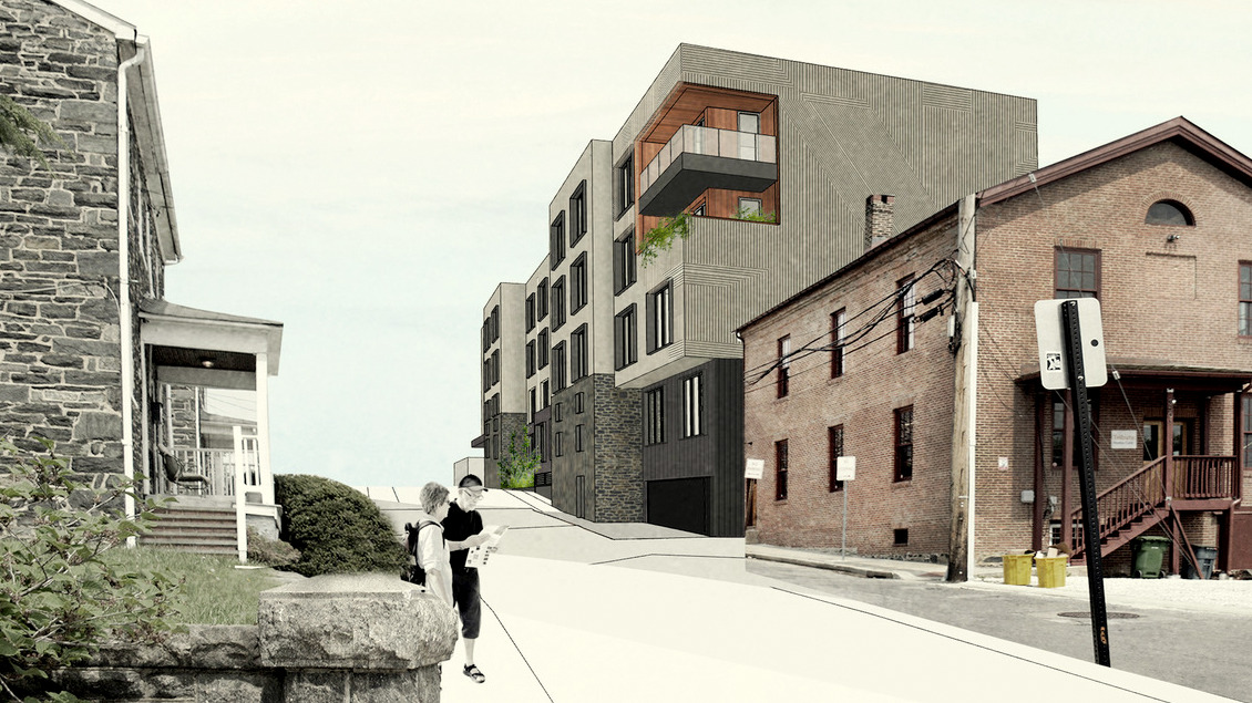 Looking north on Clipper Road at the proposed Woodberry Station apartment building. ( PI.KL Studio)