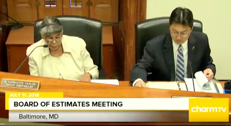 Absent before the City Council late yesterday, DPW Director Chow was front and center at yesterday' morning's Board of Estimates meeting. (Charm TV)