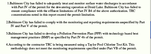 Excerpt of inspection report regarding the city's dumping of chlorinated water into the Jones Falls. (Maryland Department of the Environment)