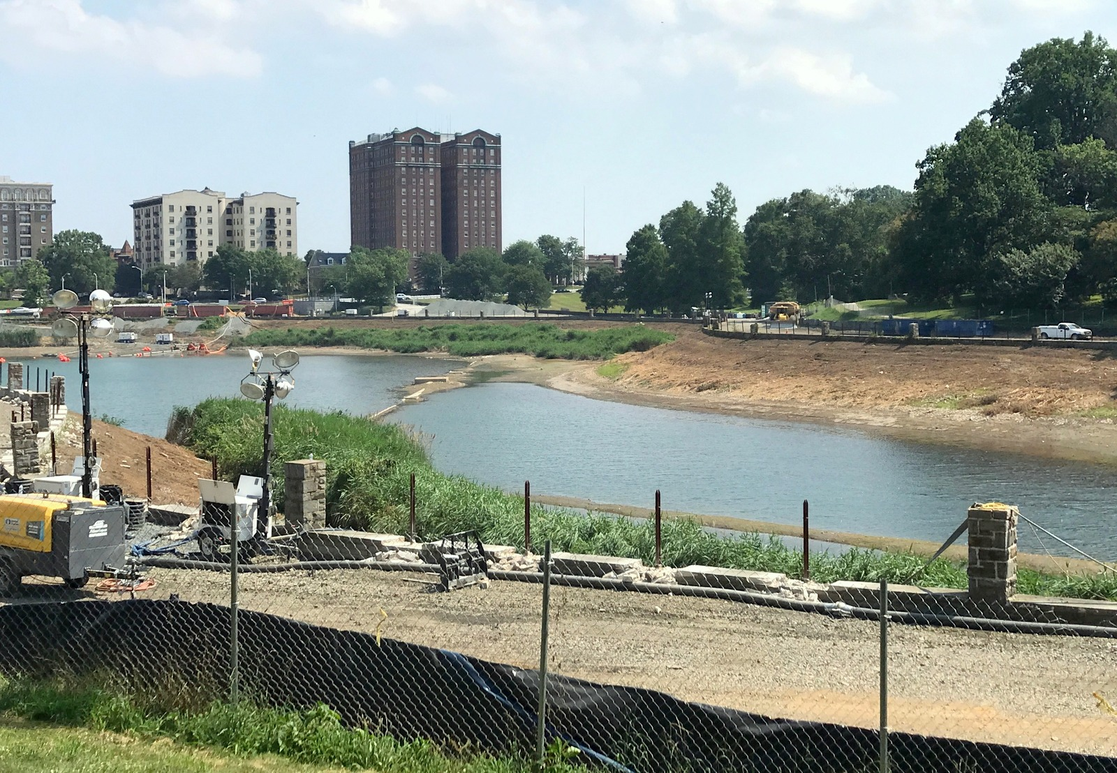 The drained portion of the original reservoir where the water tanks will be built. The city envisions an amphitheater, atheltic fields and other amenities atop the buried water tanks. (Mark Reutter)