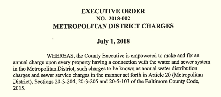 The opening statement of the July 1 executive order giving Don Mohler the power to decide the water and sewer rates of county residents. (Office of the County Executive)