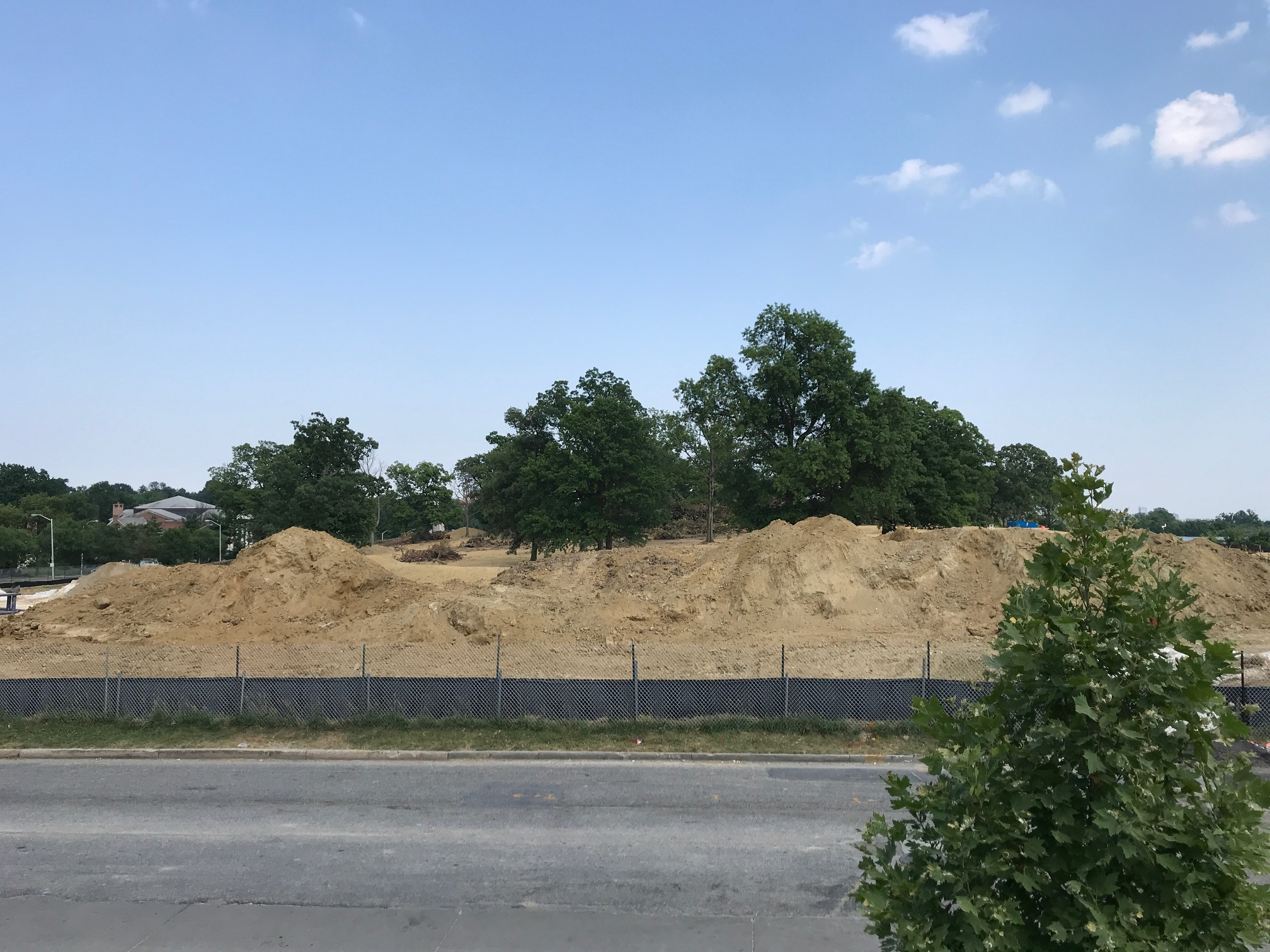 Dirt has been piled along Hilton Street as work starts on underground water tanks at Hanlon Park. (Mark Reutter)
