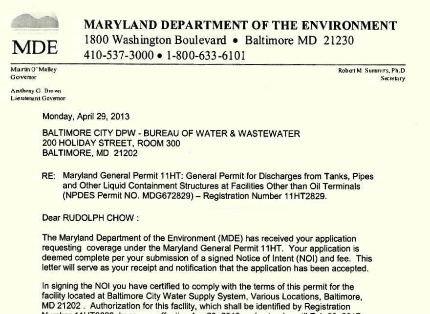 Excerpt of NPDES permit to Baltimore