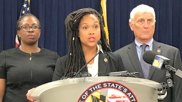 Baltimore State's Attorney Marilyn Mosby announcing the indictment of former police officer Arthur Williams after video captured him repeatedly punching a man. (Baltimore Satate's Attorney's Office)