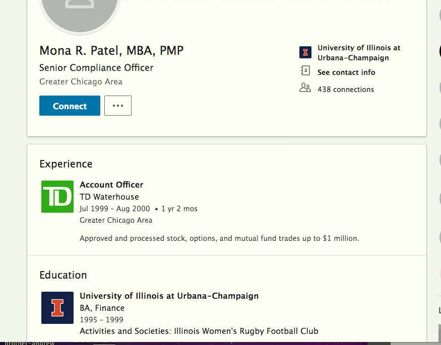 Mona Patel LinkedIn now altered to exclude