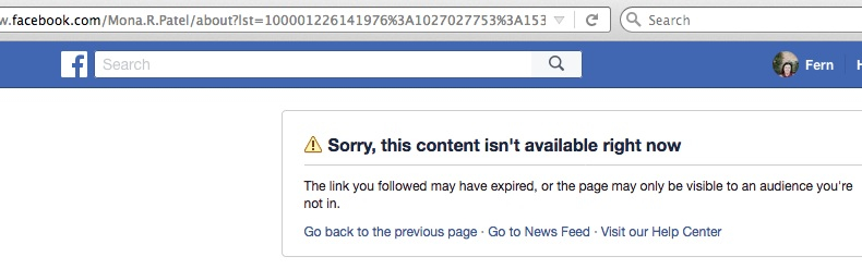 Mona R. Patel's Facebook page was taken down today.