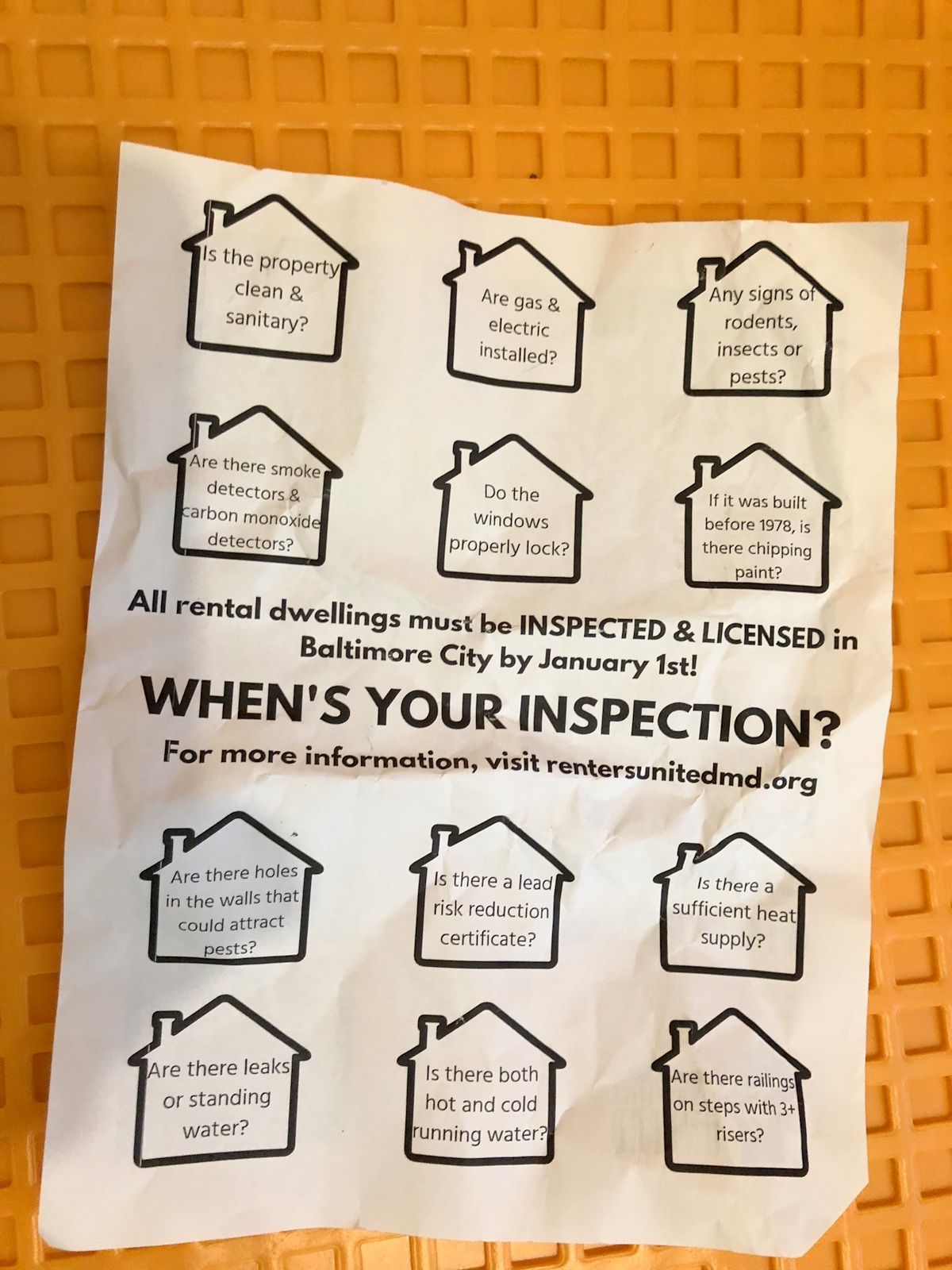 Some items on Baltimore's checklist ofr rentals, on a flier circulated by Communities United. (Fern Shen)