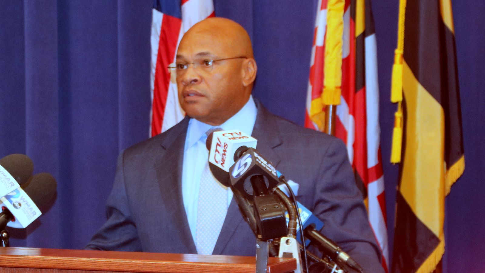 Interim Commissioner Gary Tuggle at a news conference following an officer's beating of a resident Saturday, caught on video that went viral. (Fern Shen)