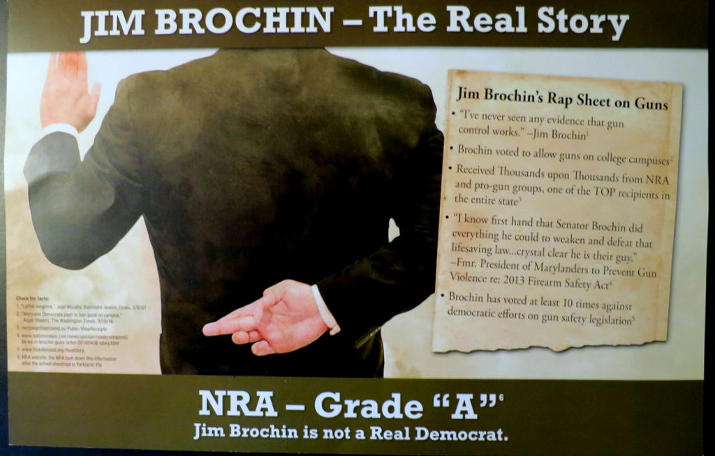 This large, glossy mailer. purporting to show state Senator Jim Brochin with two fingers crossed behind his back, was funded by Jim Smith's Victory Slate and mailed out to tens of thousands of Baltimore County voters. Did it help sway voters against Brochin, who was then considered the primary front runner? (Brew file photo)