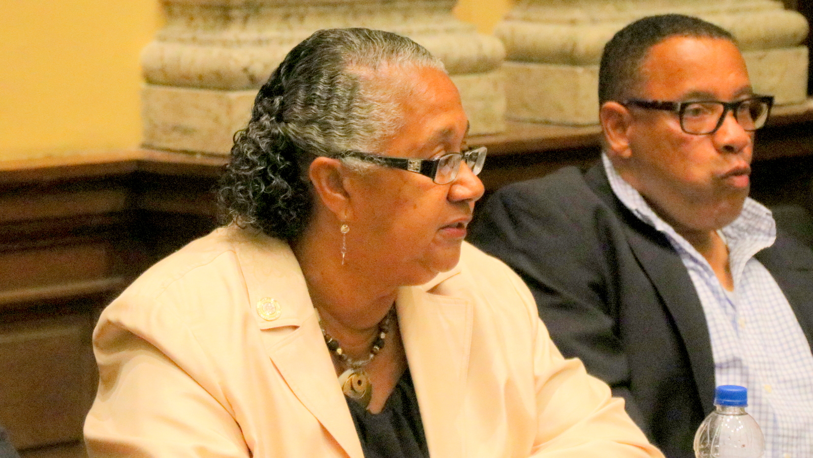 Del. Cheryl Glenn listens at the meeting where she was elected chair of the Baltimore City Delegation. (Fern Shen)