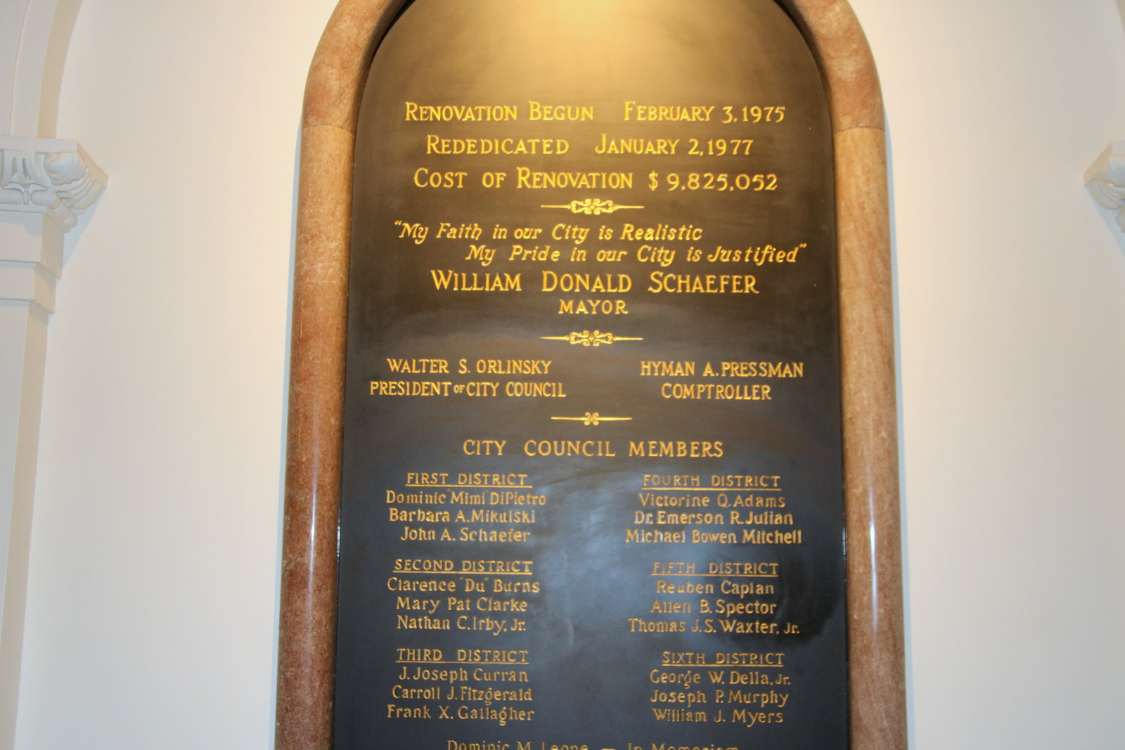 Plaque commemorating the rebuilding of City Hall under Mayor William Donald Schaefer in 1977. Notice the cost of renovation. (Fern Shen)