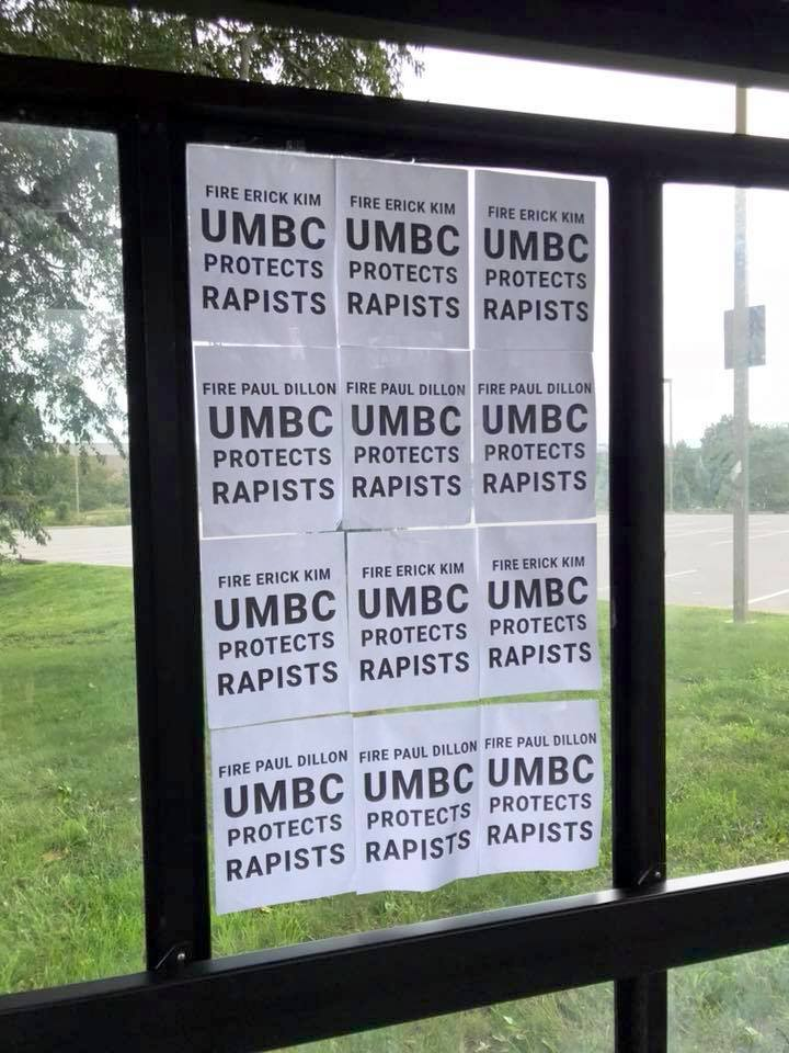 Fliers calling for UMBC officials to fire police chief Paul Dillon and Title IX investigator Erick Kim. (Erin Shoreman)