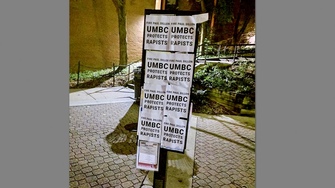 Flyers at UMBC's Catonsville campus call for the resignation of campus police chief Paul Dillon. (Facebook)