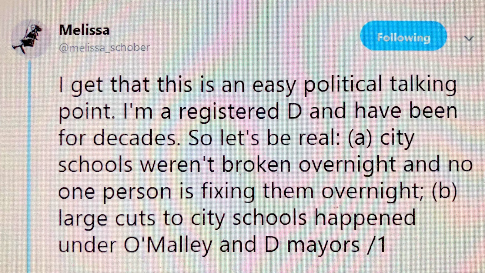On the first day of the 2018-19 school year, what Baltimore parent Melissa Schober tweeted, with 72 schools closed early because of inasequate real estate.