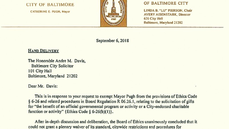 Excerpt of letter from the Ethics Board denying Mayor Pugh's request for blanket exemption from ethics rules that bar city employees from raising money for charitable causes without prior approval. (Baltimore Ethics Board)