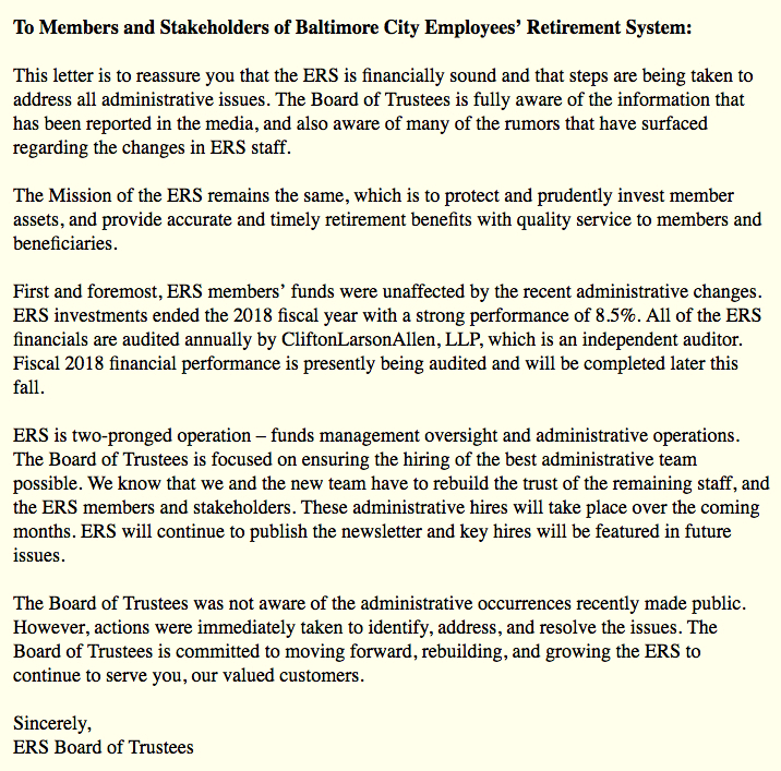 Letter to members by board