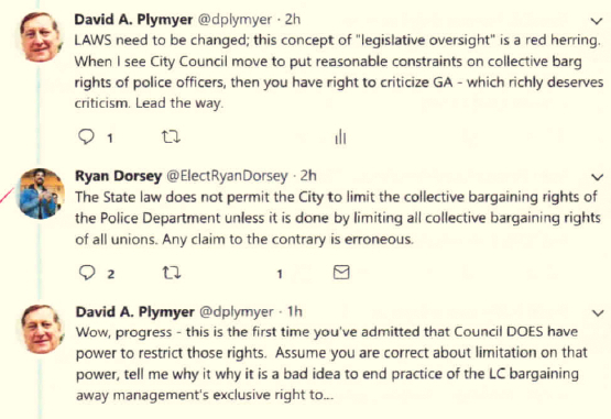 The exchange between Councilman Dorsey and the author of this article last Thursday (October 11).