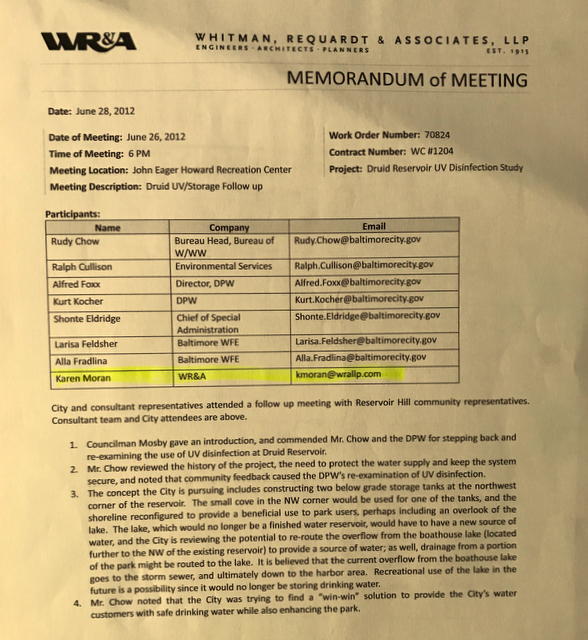 June 26, 2012 memo describing Chow's decision to halt plans for a UV disinfection plant and instead construct two underground storage tanks in Druid Lake. (EPA, Baltimore Brew public information request)