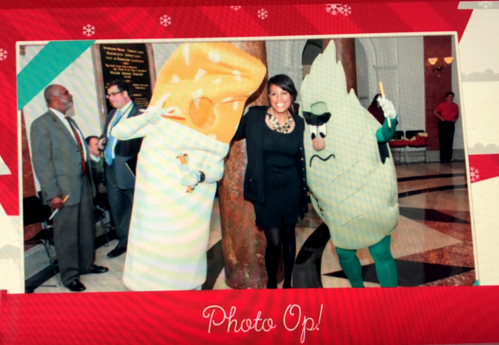 Mayor Stephanie Rawlings-Blake flanked by Smokey Crush and Leaf in a 2015 video.