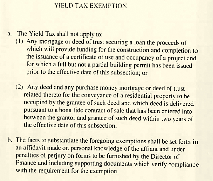 tax yield exemption, introduced by costello