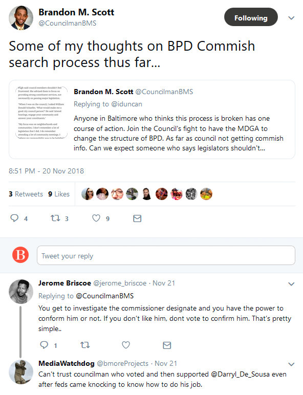 Brandon M. Scott on Twitter Some of my thoughts on BPD Commish search process thus far