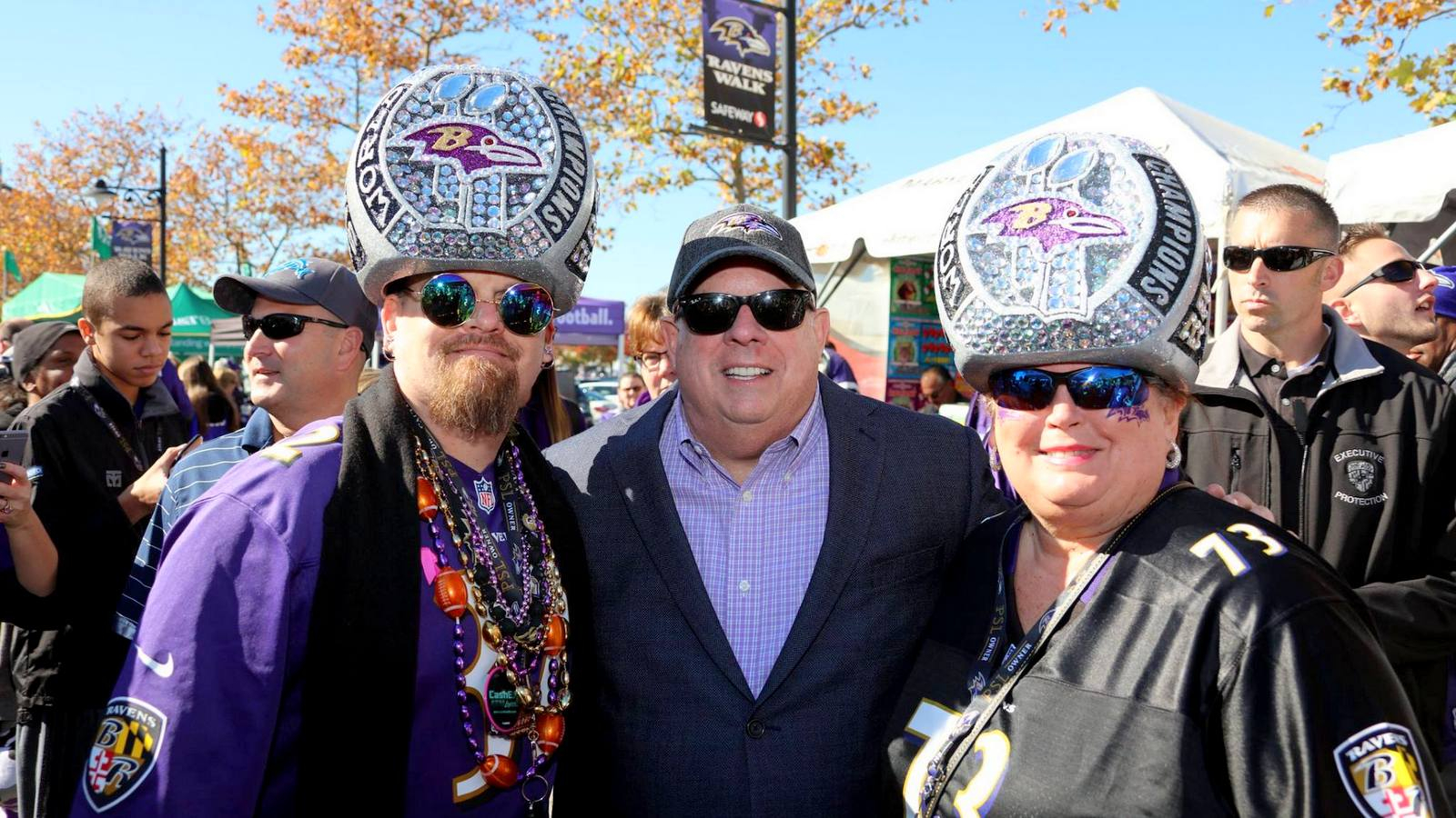 Larry Hogan worked the Ravens fans at last Sunday's Steeler's game. (Larry Hogan Facebook)
